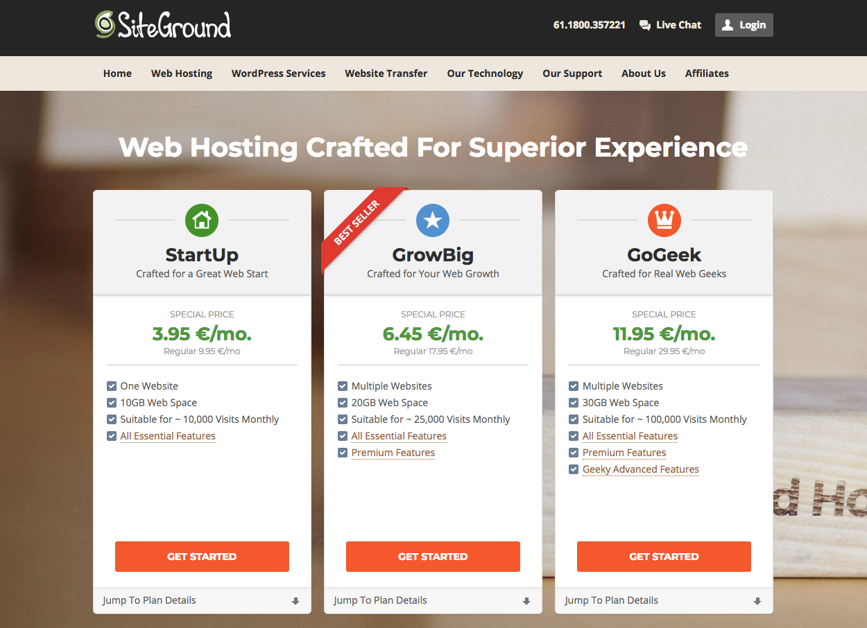 Hosting Siteground  Retail Price